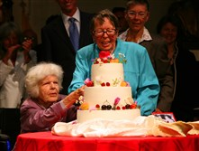 In this file photo, Phyllis Lyon, center, and her partner, Del Martin, celebrate their wedding June 16, 2008, at City Hall in San Francisco on June 16, 2008.