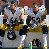 Steelers offensive linemen David DeCastro and Maurkice Pouncey help form the strong right side of Steelers offense.