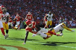 Chiefs receiver Chris Conley scores past former Steelers corner Antwon Blake in the fourth quarter in a game at Arrowhead Stadium Kansas City in 2015.