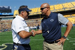 Pitt coach Pat Narduzzi and Penn State coach James Franklin greet at Heinz Field in 2016.