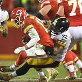 James Harrison sacks Chiefs quarterback Alex Smith in the second half of the AFC divisional round playoff game at Arrowhead Stadium.