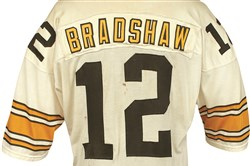 This Terry Bradshaw jersey, worn in a 34-21 loss in the 1977 AFC divisional round in Denver, is one of the most unique items up for auction.