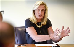 Pitt Athletic Director Heather Lyke discusses the future of the school's athletic programs in this July 27, 2017, file photo.