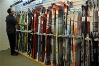 A manager straightens a ski display at Willi's Ski Shop in Monroeville.