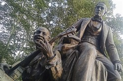 This statue of 19th Century  American songwriter and Pittsburgh native Stephen Foster is in Schenley Park in Oakland.