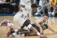 Robert Morris' Dachon Burke, left, and Matty McConnell, right, dive to the floor Dec. 10 against Drexel. McConnell's outside shot hasn't been falling recently.