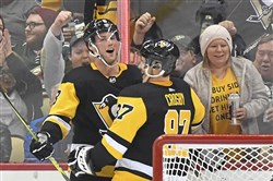Brian Dumoulin celebrates his third goal of the season back in late January alongside Sidney Crosby.