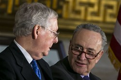 Senate leaders Mitch McConnell, left, and Chuck Schumer