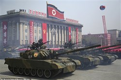 A typical military parade in Pyongyang, North Korea