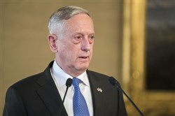 U.S. Secretary of Defense James Mattis during a news conference at the Presidential Palace in Helsinki, Finland, on November 6, 2017.