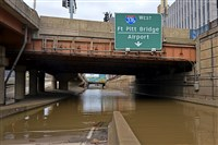 "Flooding in the ""bathtub"" area of I-376 closed the Parkway West downtown Saturday, February 17, 2018 in Pittsburgh"