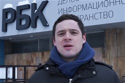 In this image taken from video, Russian journalist Andrei Zakharov speaks during his interview with The Associated Press in Moscow on Feb. 17, 2018.