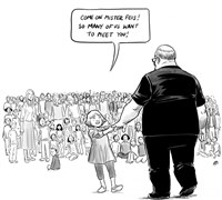 "The ""Hero's Welcome"" editorial cartoon by Canadian artist Pia Guerra"