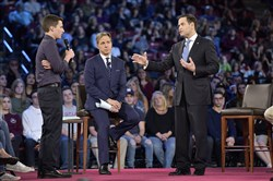Marjory Stoneman Douglas High School student Cameron Kasky asks a question to Sen. Marco Rubio during a CNN town hall meeting at the BB&T Center in Sunrise, Fla., on Feb. 21, 2018.