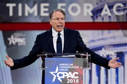 The National Rifle Association's executive vice president and CEO, Wayne LaPierre, speaks during the 2018 Conservative Political Action Conference at National Harbor in Oxen Hill, Maryland, on February 22, 2018.