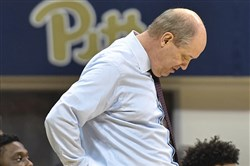 Coach Kevin Stallings hangs his head in the final seconds of Wednesday night's loss to Wake Forest at Peterson Events Center. The Panthers are still winless in ACC play.