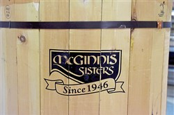 A closeup of the logo for  McGinnis Sisters Special Food Stores displayed on a barrel at their  Brentwood location , taken Wednesday Feb. 28, 2018 in Brentwood.  The Monroeville location is also closing.  (Bob Bats is reporting).   (Darrell Sapp/Post-Gazette)