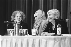 From left: cookbook authors Darra Goldstein, Betty Fussell and Nathalie Dupree reminisce at a panel last month in New York City about the history of the International Association of Culinary Professionals.