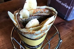 The Nutella-banana crepe is among the sweet versions featured at T-Swirl Crepe.