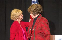 Republican gubernatorial candidate Laura Ellsworth hugs former first lady of Pennsylvania, Sue Corbett, during Ms. Ellsworth's campaign rally on March 8 at the Heinz History Center.