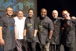 From left, chef Norr Nareedokmai, chef Tom DeGori, chef Keyla Nogueira Cook, chef Claudy Pierre, chef Kevin Sousa and chef Jess Rattanni.