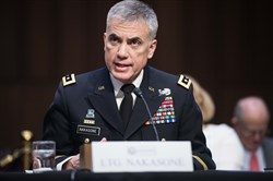 The commander of the US Army Cyber Command, Paul Nakasone, speaks during his confirmation hearing before the Senate Intelligence Committee to be the director of the National Security Agency in Washington on March 15, 2018.