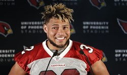 In this Oct. 19, 2017 file photo, Arizona Cardinals' Tyrann Mathieu smiles during a news conference ahead of a NFL training session in London.