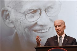 "Vice President Joe Biden talks about Dan  Rooney's impact on Pittsburgh, Ireland, the NFL and Biden himself during ""Slainte! celebrating the Life and Legacy of Daniel M. Rooney"" at Duquesne University."