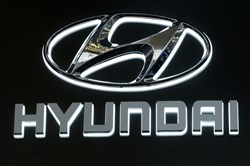 This is the Hyundai logo on display at the Pittsburgh Auto Show Thursday, Feb. 15, 2018.