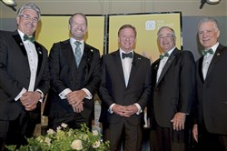 From left, Ken Gormley, Bill Cowher, Roger Goodell, Jim Rohr and Art Rooney II at the Slainte! Ireland Funds Gala celebrating the life of Daniel M. Rooney at Heinz Field on the North Shore.
