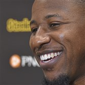 Steelers linebacker Jon Bostic talks with the media Monday on the South Side.
