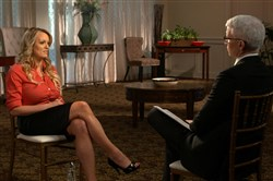 "Stormy Daniels, left, during an interview with Anderson Cooper, March 25, on ""60 Minutes."""