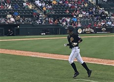 Ji-hwan Bae, whom the Pirates signed in March 2018, made his Grapefruit League debut in a game against the Philadelphia Phillies at LECOM Park on March 26, 2018.