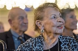 Thelma Landay, mother of Eric Gold, watches during the Elly Awards on Thursday, April 12, 2018, at the Twentieth Century Club in Oakland.