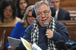 D.J. Stemmler of Oakland address Pittsburgh City Council Wednesday about concern that involve businesses where accessibility improvements don't include basic upgrades -- like accessible entrances.
