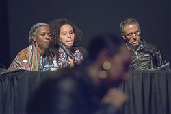 "From left, panelist Janera Solomon, Alisha Wormsley and Jon Rubin participate in a public forum at Kelly-Strayhorn Theater on Wednesday in East Liberty to host a discussion centering o a billboard that reads ""There are Black People in the Future."""
