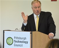 Republican candidate for governor Scott Wagner speaks to the Pittsburgh Technology Council on Friday, April 20, 2018.