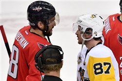 Penguins Sidney Crosby shakes hands with Capitals Alex Ovechkin after winning Game 7 of the Eastern Conference semifinals Wednesday, May 10, 2017, at the Verizon Center in Washington, D.C.