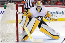 Penguins goalie Matt Murray tends the net against the Washington Capitals during Game Five of the Eastern Conference second round Saturday. The Penguins lost, 6-3, and the Capitals took a 3-2 lead in the series. (Photo by Patrick Smith/Getty Images)