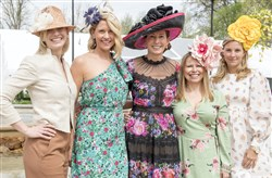 Co-chairs from left, Mary McKinney Flaherty, Mollie Hanna Lang, Emily Mack Jamison, Jimmi Sue Smith and Ramsey Lyons at the 20th Annual PNC Pittsburgh Parks Conservancy Spring Hat Luncheon on Saturday in Highland Park.