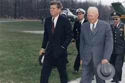 John F. Kennedy and Dwight D. Eisenhower at Camp David, April 1961