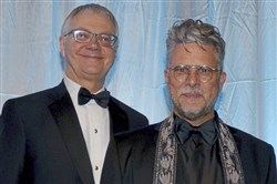 Christopher Hahn, left, and Ron Booth attend Maecenas XXXIV: Cirque de l'Opera on Saturday night at the Pittsburgh Opera headquarters in the Strip District.