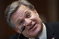In this file photo, FBI Director Christopher Wray testifies during a hearing of the Senate Subcommittee on Commerce, Justice, Science, and Related Agencies on Capitol Hill on May 16, 2018, in Washington.