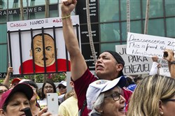 Hundreds of Venezuelan exiles in Miami protest the presidential elections in Venezuela and primarily against Nicolas Maduro at the Venezuelan consulate.