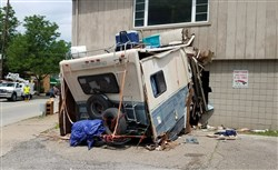 An RV crashed into a building in the West End of Pittsburgh on Saturday.