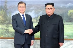 In a photo provided by the South Korean government, President Moon Jae-in of South Korea, left, meets with Kim Jong-un, the leader of North Korea, at the border village of Panmunjom, May 26, 2018. The two leaders discussed salvaging the canceled summit meeting between Kim and President Donald Trump.