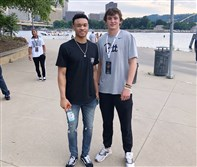 Pitt freshman guard Trey McGowens, left, with new Pitt quarterback recruit Davis Beville last weekend on Beville's official visit to Pittsburgh.