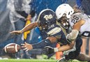 Pittsburgh Panthers wide receiver Rafael Araujo-Lopes and Penn State Nittany Lions safety Jonathan Sutherland reach for a fumble on Saturday, Sept. 8, 2018, at Heinz Field in Pittsburgh. Penn State beat Pitt, 51-6.