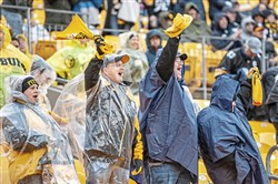 Fans cheer on the Steelers during a game against the Cleveland Browns on Sunday, Oct. 28, 2018, at Heinz Field.