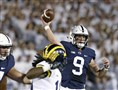 In this Oct. 21, 2017, file photo, Penn State quarterback Trace McSorley (9) throws a pass against Michigan during the first half of an NCAA college football game in State College, Pa.